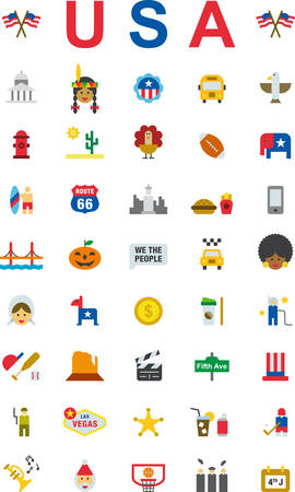 UNITED STATES flat colored icons pack