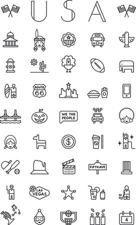 UNITED STATES outline icons pack Vectores