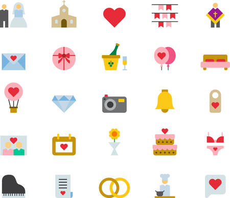 WEDDING & LOVE colored icons flat pack Illustration