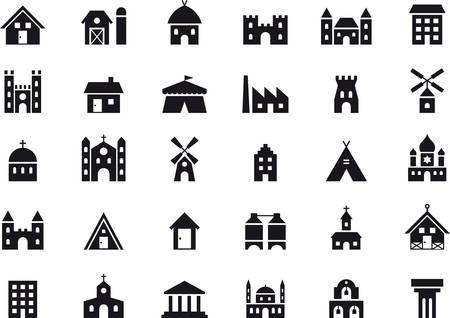 BUILDINGS & contructions black icons pack