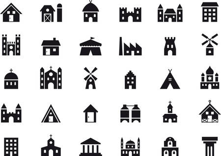 BUILDINGS & contructions black icons pack
