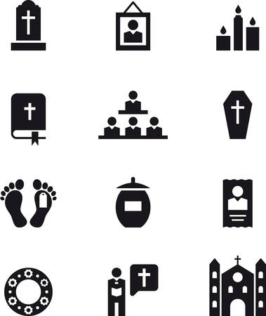 DEATH & FUNERAL black icons pack Vettoriali
