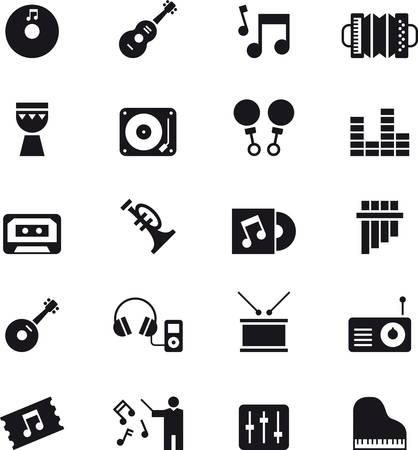 MUSIC paquete de iconos negro Vectores