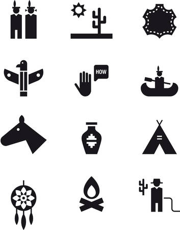 far: NATIVE AMERICANS black icons pack