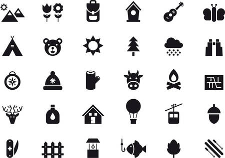 NATURE & OUTDOOR ACTIVITIES black icons pack