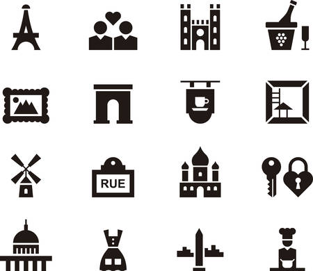 PARIS black icons pack Illustration