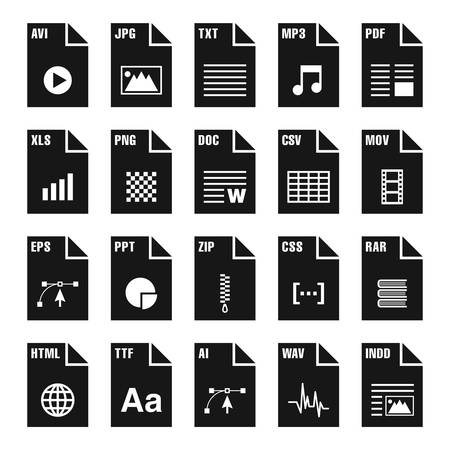 Set of files and document icons
