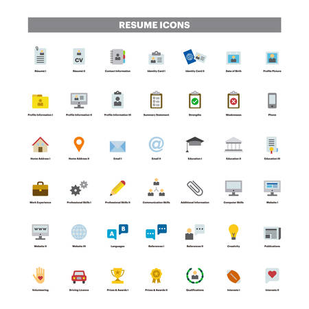 CV and resume color flat icons