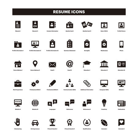 CV and resume black solid icons Stock Illustratie
