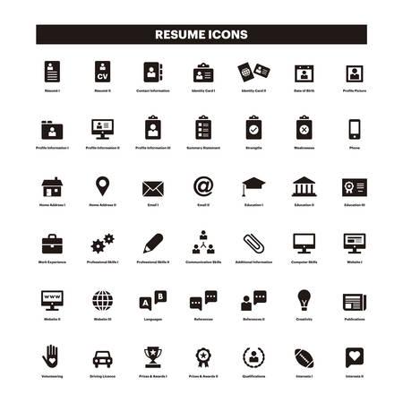 CV i wznowić czarne i solidne ikony
