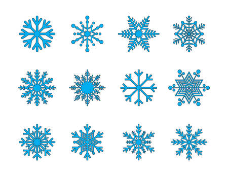 Snowflakes filled line icons Иллюстрация