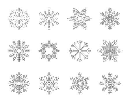 Set of snowflakes outline icons