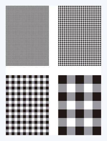 Black Gingham Pattern Vector Background  イラスト・ベクター素材