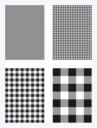 Black Gingham Pattern Vector Background Ilustração