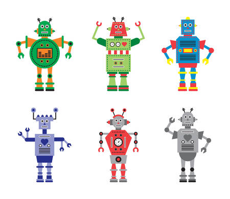 Set of 6 Robots - Digital Vector Illustration