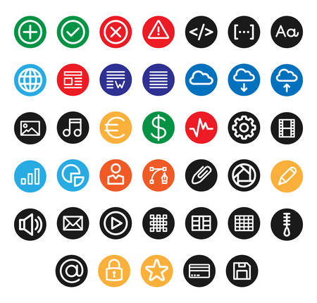 Miscellany UI & Web icons inside a circle Vectores