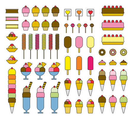 Ice Cream filled line icons
