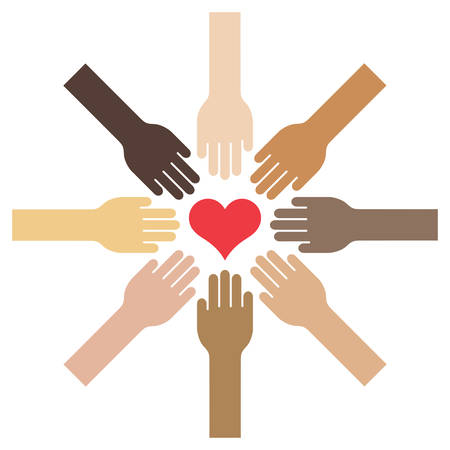 Extended hands with different skin tones towards a centered heart - vector illustration Stock Illustratie
