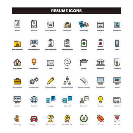 CV & SUMMARY filled line icons