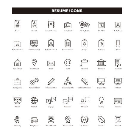 CV & SAMENVATTING overzicht pictogrammen