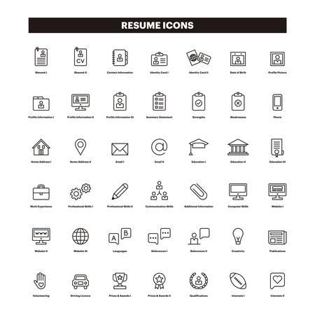 Icônes de contour CV & SUMMARY