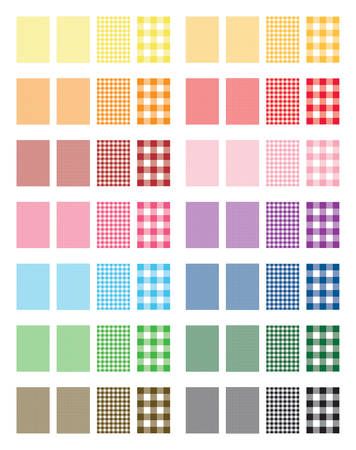 Gingham Pattern Vector Backgrounds (14 color versions)