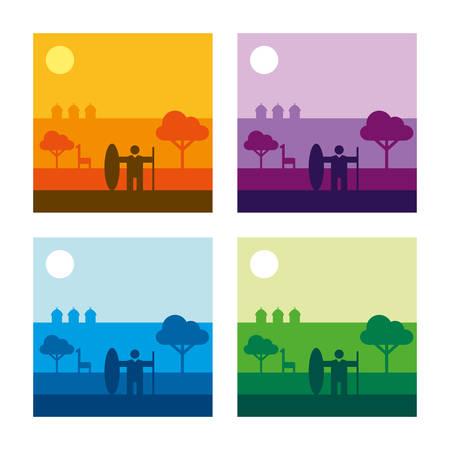 African Savannah Landscape Vector Illustration - 4 color versions