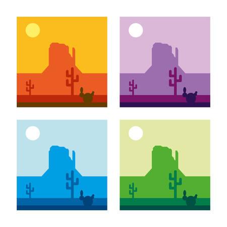 Desert Landscape Vector Illustration - 4 color versions Ilustração