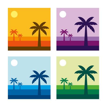 Tropical Landscape Vector Illustration - 4 Color Versions