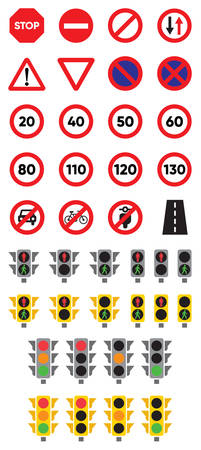 Traffic Signs & Lights Colored Flat Icons Иллюстрация