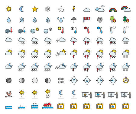 meterology: Weather Forecast & Meterology filled line icons