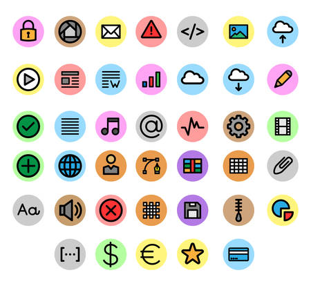 Miscellaneous UI & Web filled line icons inside a circle