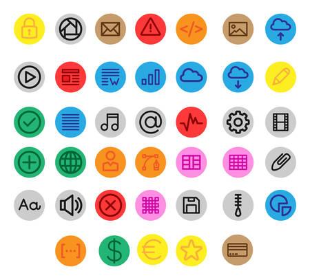 Miscellaneous UI & Web linear icons inside a circle