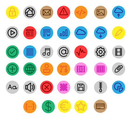 Miscellaneous UI & Web linear icons inside a circle