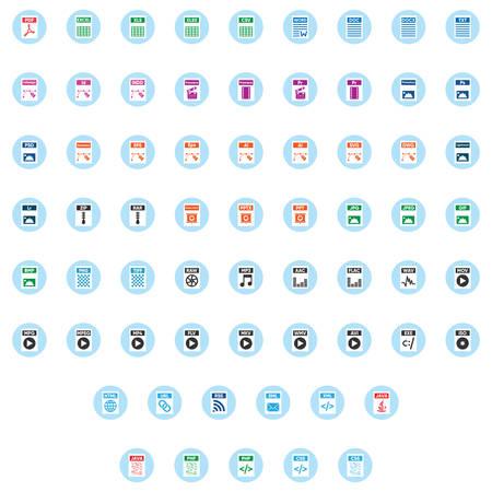 Files & Documents icons inside a blue circle Ilustração