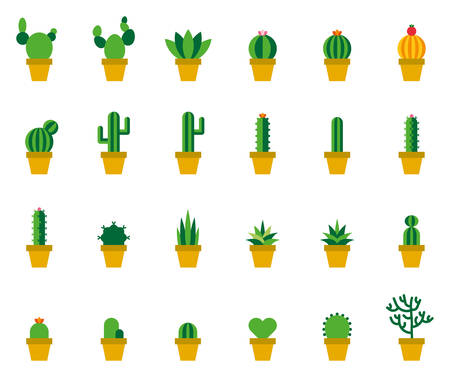 Cactus Colored Flat Icons