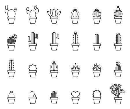 Cactus Outline Icons. Vector illustration.