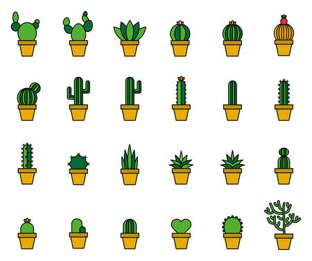 Cactus Filled Line Icons. Vector illustration. Иллюстрация