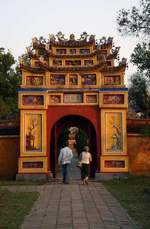 hue: Temple door in Hue with tourist