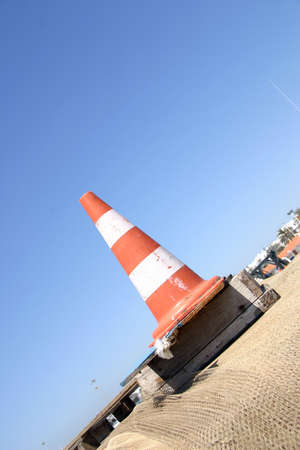 signalling: Cone signalling red and white Stock Photo