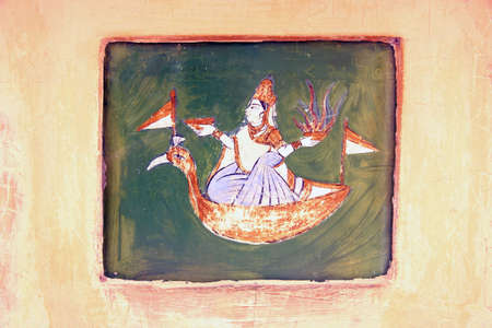 foretell: Painting with zodiac sign of an observatory in India