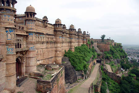buddhist structures: Detail of Gwalior Fort, near Agra, India