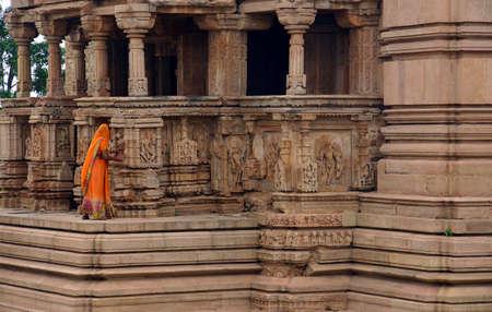 khajuraho: Woman in Khajuraho temple from India Stock Photo