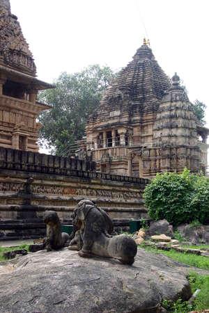khajuraho: Detalle de uno de los templos de Khajuraho, India