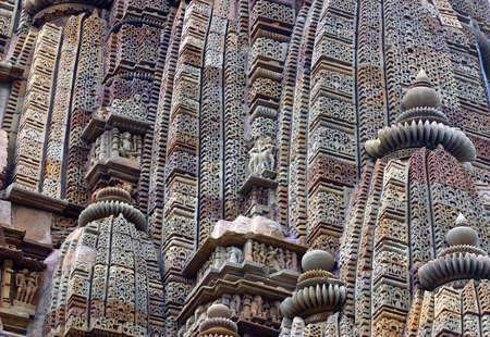 khajuraho: Detail of one of the temples of Khajuraho, India Stock Photo