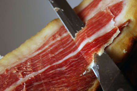 cured: Picture of the court of a typical Jamon Iberico ham from Spain