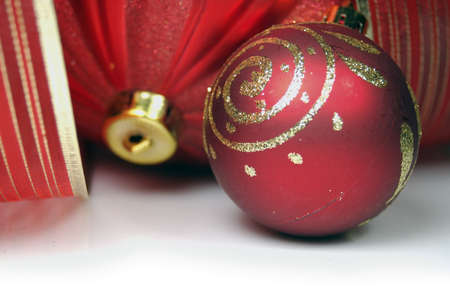 Traditional Christmas greeting with two balls and red ribbons photo