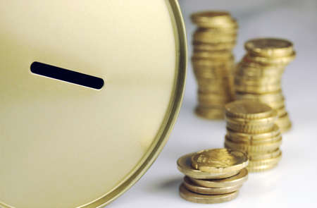 Coins and piggy bank to save money  Stock Photo - 8354614
