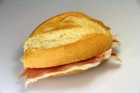 embutido: A sausage sandwich bread typical of Spain Stock Photo