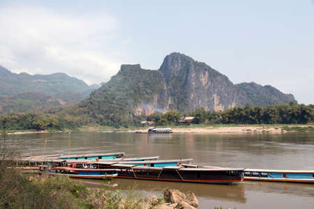 Boats on the Mekong River. 4000 islands. Island of Don Det. Laos